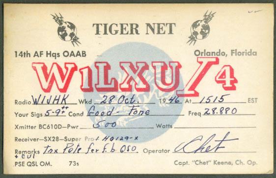 Tiger Net Orlando FL Ham Radio postcard 1946