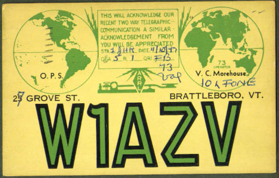W1AZV Brattleboro VT QSL Ham Radio postcard 1947