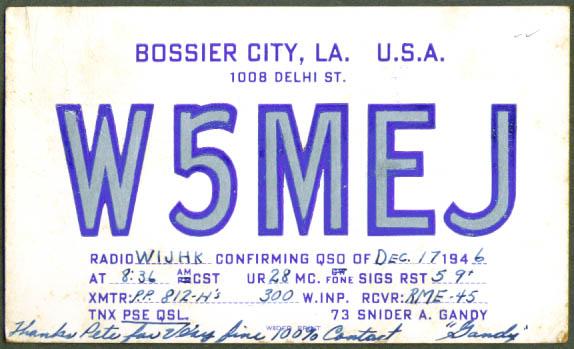 Bossier City LA QSL Ham Radio postcard 1946