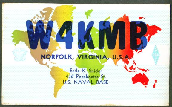 W4KMB Norfolk Naval Base VA QSL Ham Radio postcard 1950