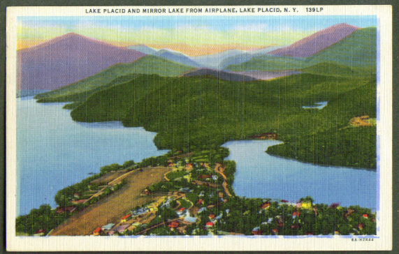 Air View Mirror Lake Placid NY postcard 1957