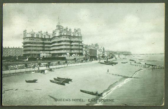 Queen's Hotel Eastburne Engalnd postcard 1928