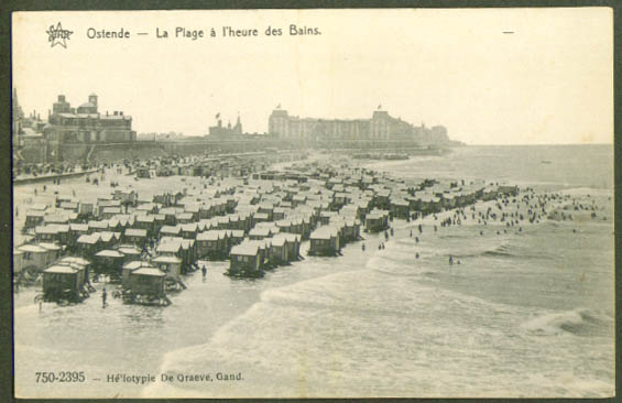 Beach at Ostende Belgium postcard 1910s
