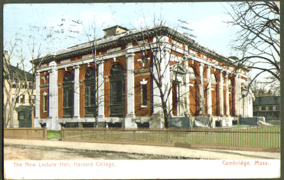 Lecture Hall Harvard College MA postcard 1911