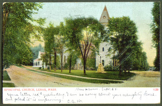 Episcopal Church Lenox MA undivided back postcard 1906