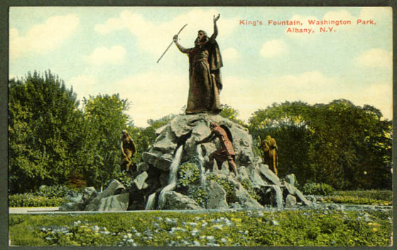 King Fountain Albany NY postcard 1910s