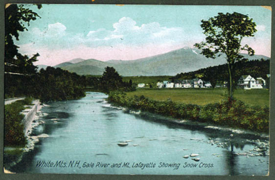Gale River Mt Lafayette NH postcard 1909