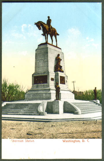 Sherman Statue Washington DC undivided back postcard 1900s