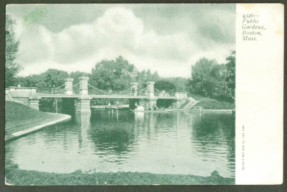 Bridge Public Gardens Boston MA undivided back postcard 1900s