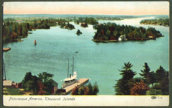Steamer dock Thousand Islands NY postcard