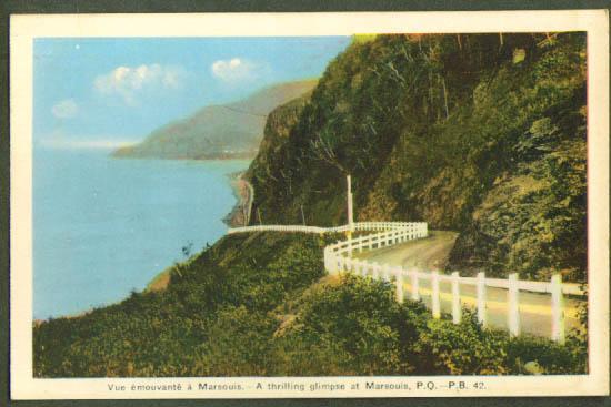 Roadside Marsouis Quebec postcard 1940s