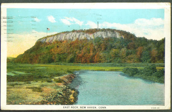 East Rock New Haven CT postcard 1932