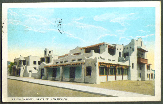 La Fonda Hotel Sante Fe NM postcard 1923