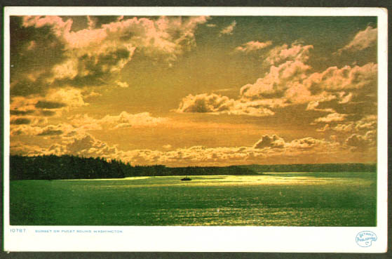 Puget Sound sunset WA postcard 1910s