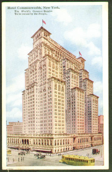 Hotel Commonwealth NYC trolley postcard 1910s