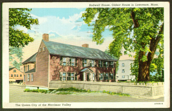 Bodwell House Lawrence MA postcard 1945