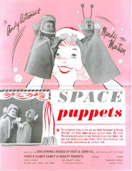 Coats & Clark Space Puppets Pattern 1969