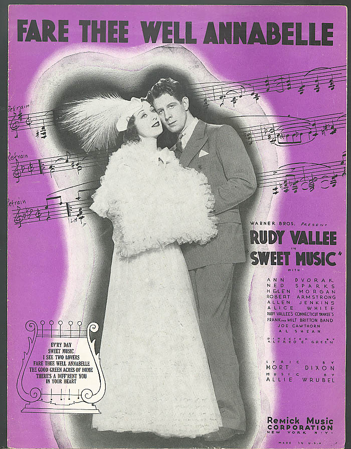 Fare Thee Well Annabelle Rudy Vallee movie music 1934