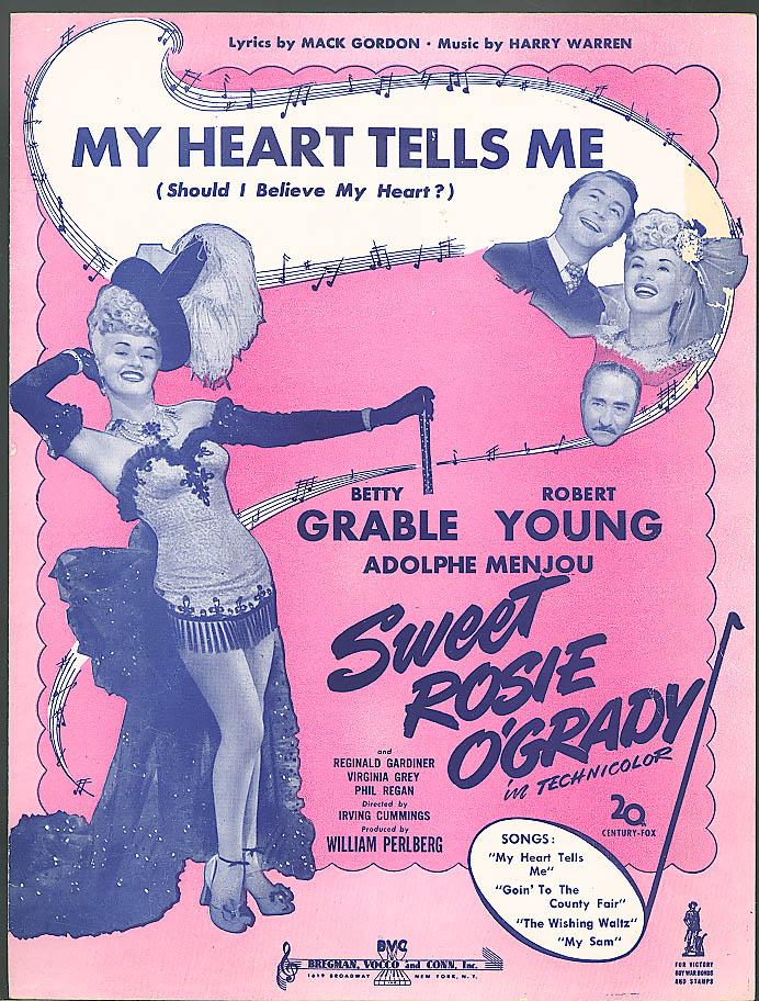 My Heart Tells Me Betty Grable movie sheet music 1943