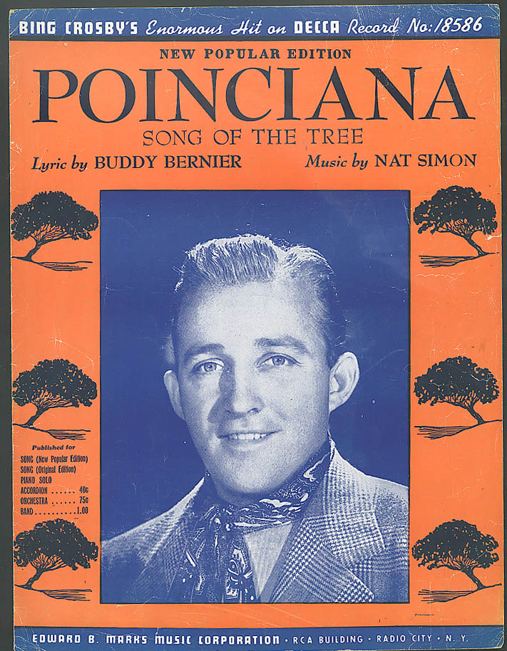 Poinciana Song of the Tree Bing Crosby sheet music 1943