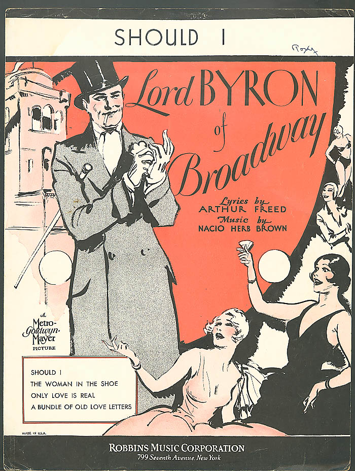 Should I Lord Byron of Broadway Arthur Freed Nacio Herb Brown sheet music 1929