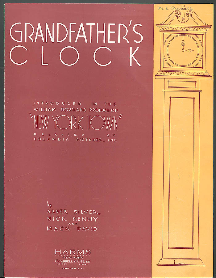 Grandfather's Clock movie sheet music 1934