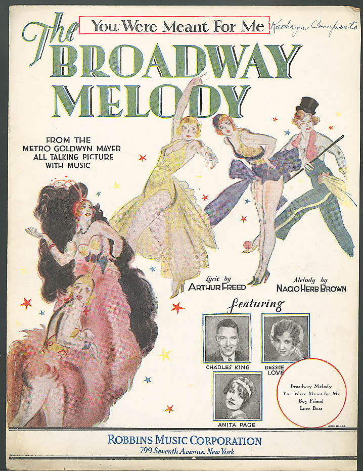 You Were Meant for Me Broadway Melody movie sheet music 1929