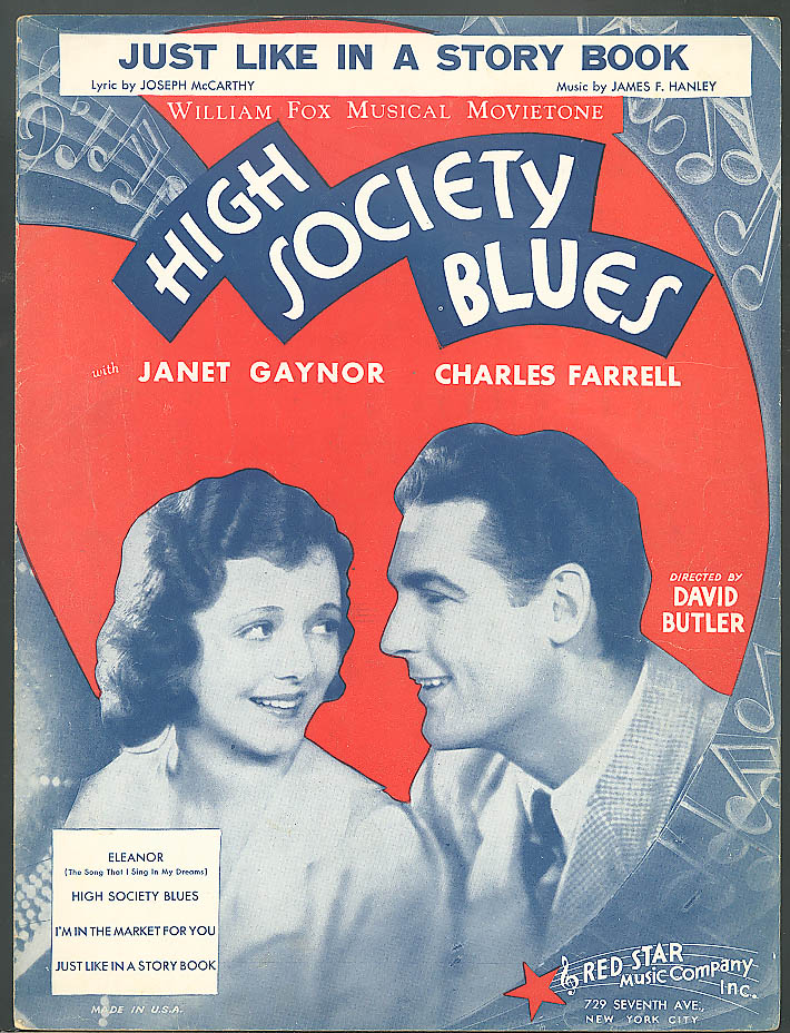 Just Like in a Story Book Janet Gaynor High Society Blues movie sheet music 1930
