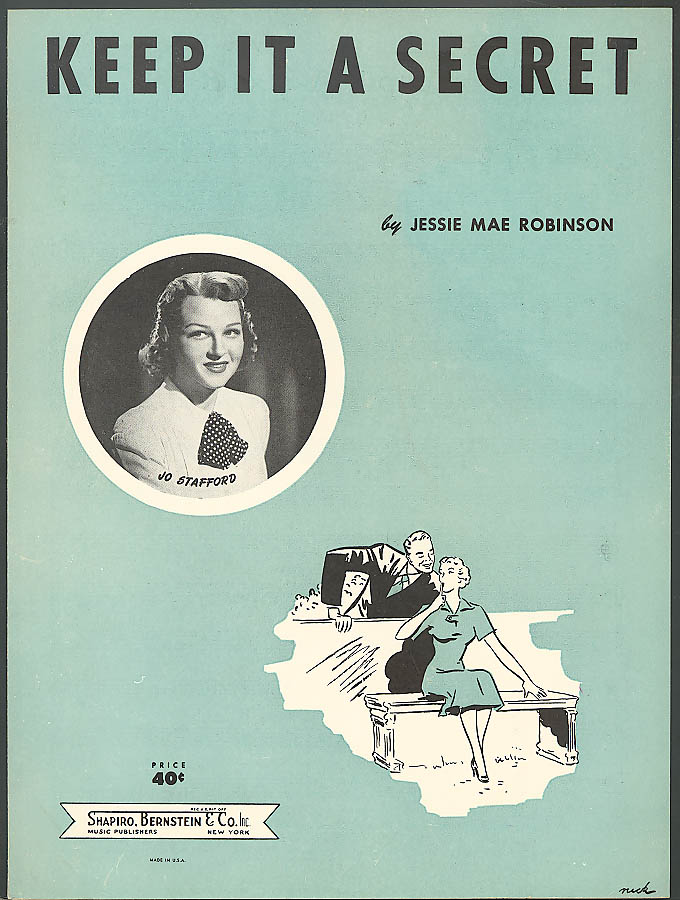 Keep It A Secret Jo Stafford sheet music 1952