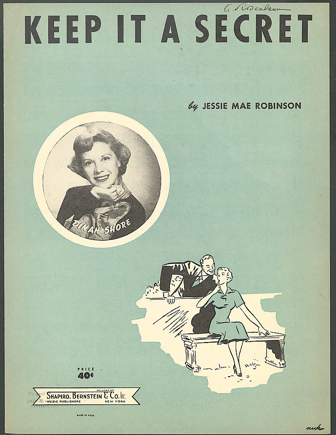 Keep It A Secret Dinah Shore sheet music 1952