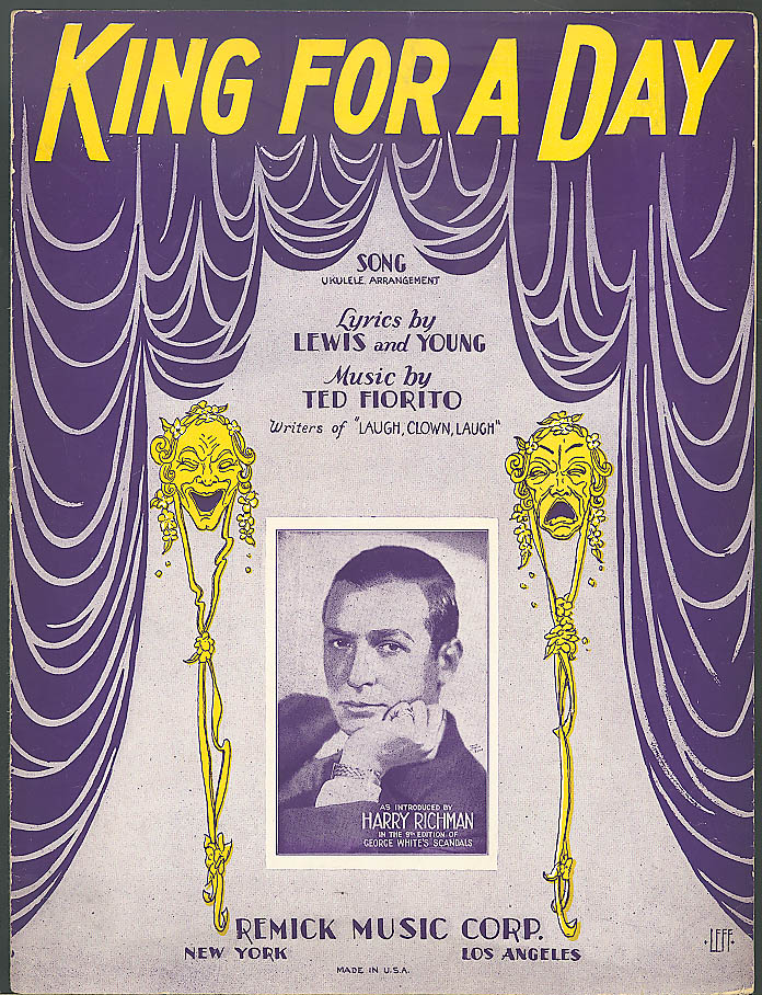 King for a Day Lewis Young & Fiorito sheet music 1928