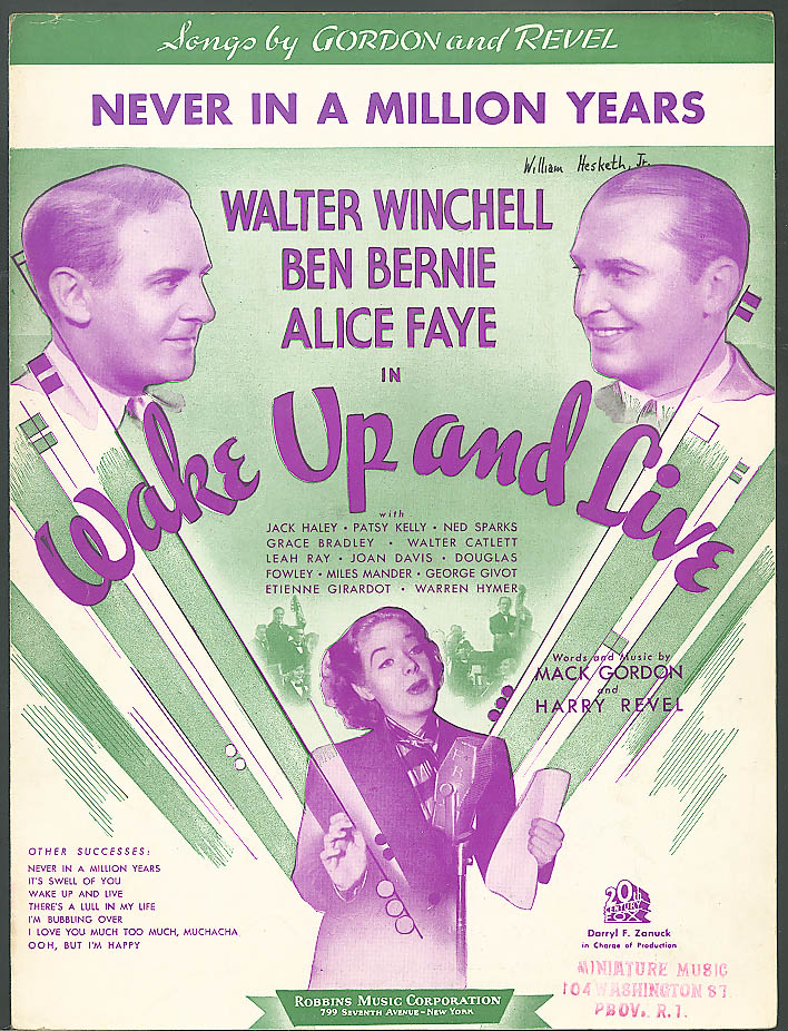 Never in a Million Years Wake Up & Live movie sheet music 1937