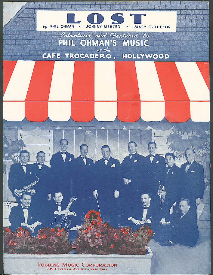 Lost Phil Ohman Café Trocadero sheet music 1936