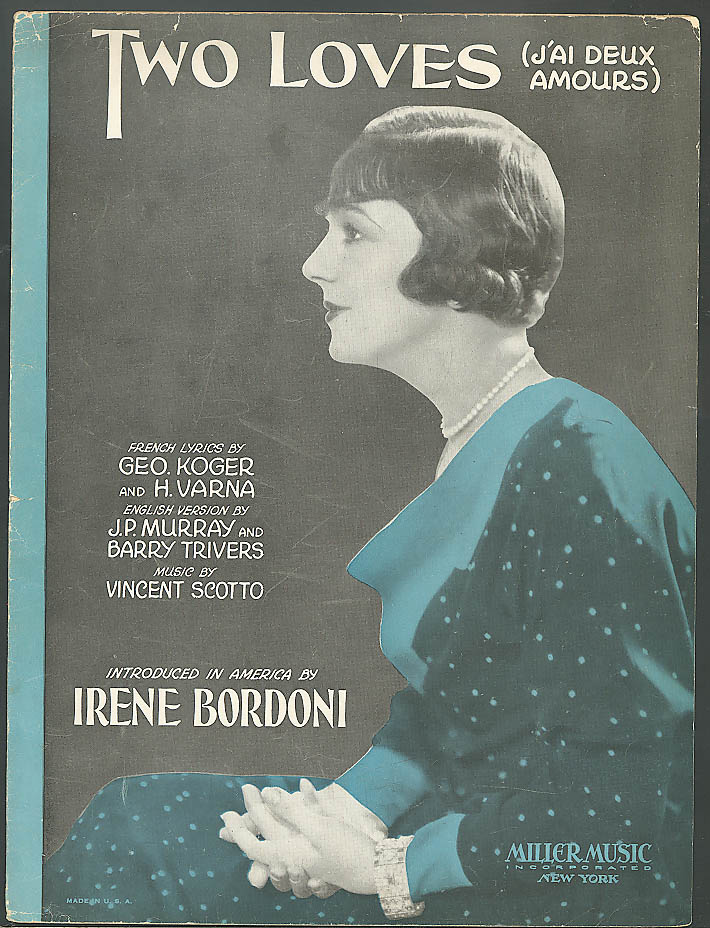 Two Loves Irene Bordoni sheet music 1931