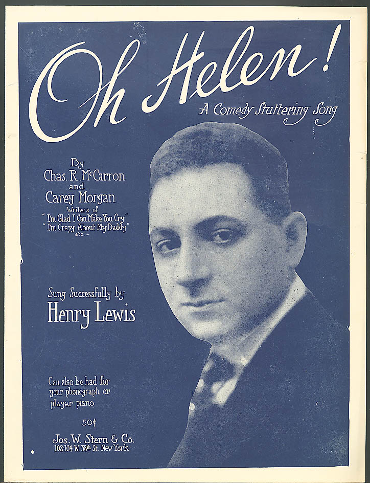 Oh Helen comedy stuttering sheet music 1918