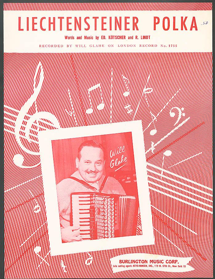 Liechtensteiner Polka Kotscher & Lindt sheet music 1957