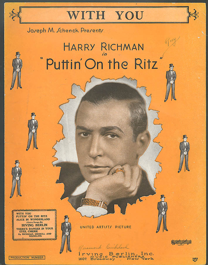 With You Irving Berlin Harry Richman movie sheet music 1929