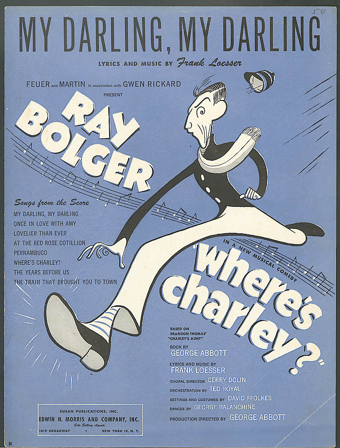 My Darling My Darling Ray Bolger sheet music 1948