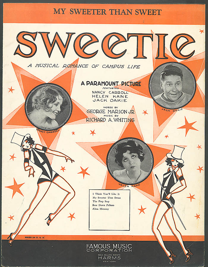 My Sweeter Than Sweet Nancy Carroll movie sheet music 1929