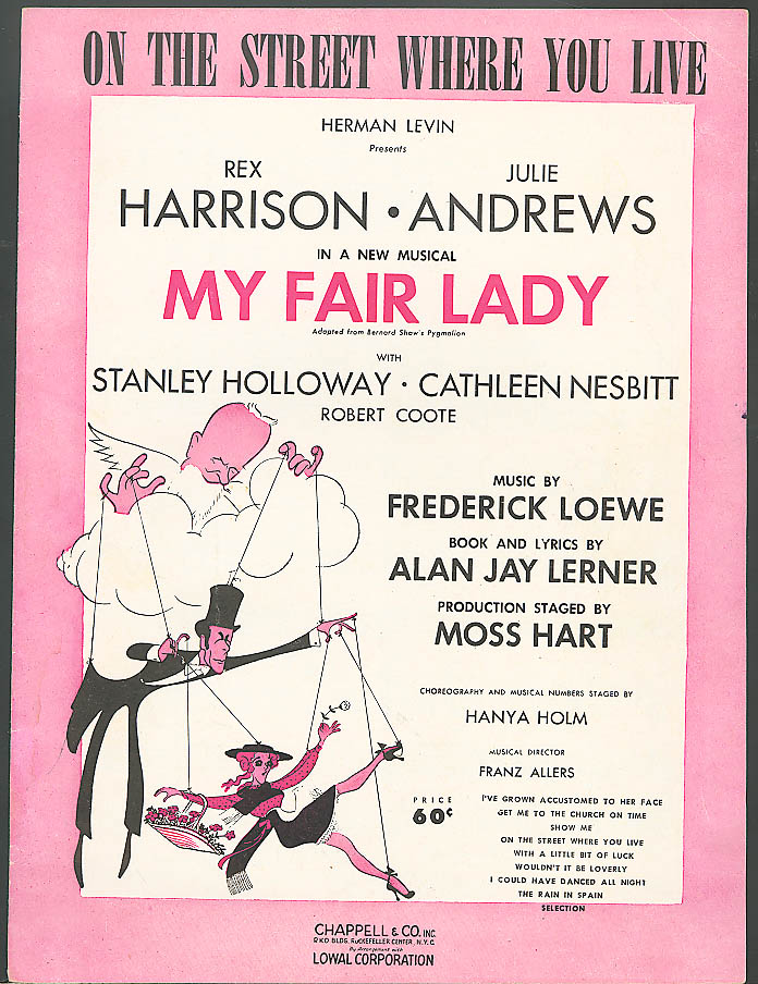 On The Street Where You Live My Fair Lady sheet music 1956