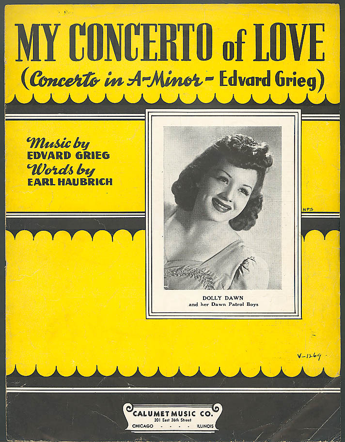 My Concerto of Love Dolly Dawn Grieg sheet music 1942