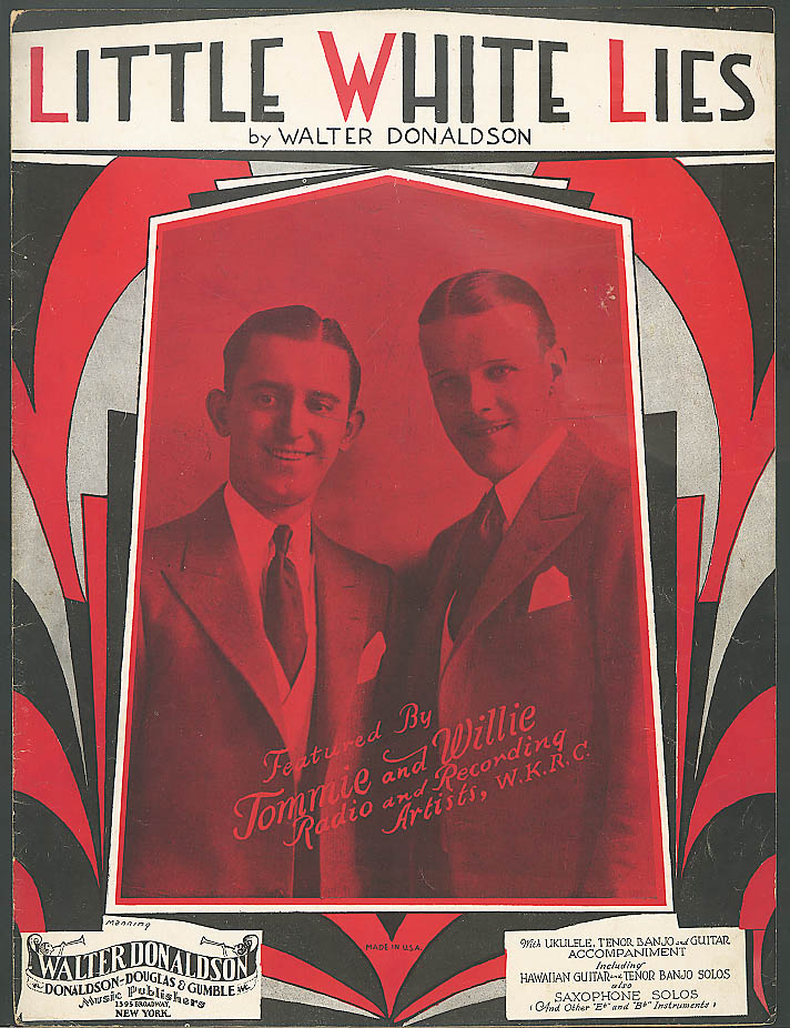 Little White Lies Tommie & Willie sheet music 1930