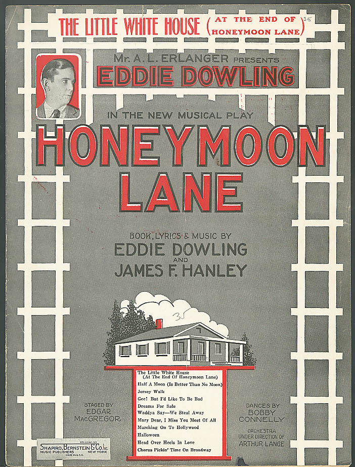 The Little White House Honeymoon Lane sheet music 1926