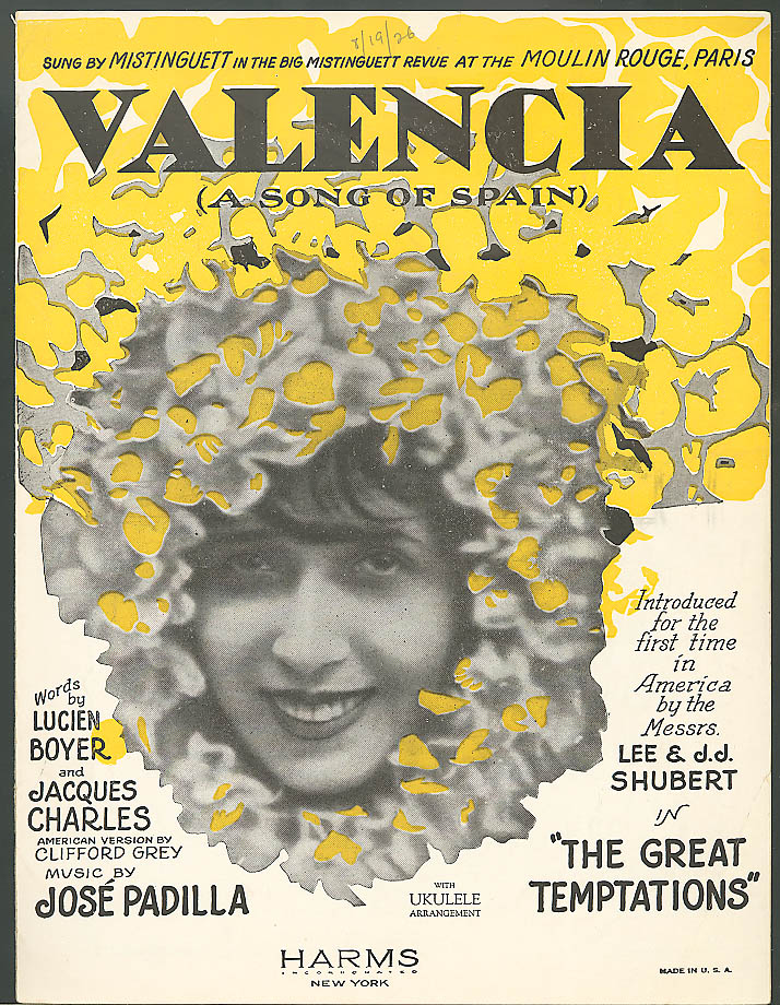 Valencia Song of Spain sheet music Boyer & Charles 1925