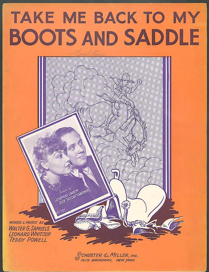 Take Me Back to My Boots & Saddle sheet music 1935