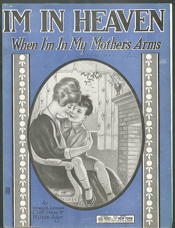 I'm In Heaven When I'm in My Mother's Arms sheet music 1920