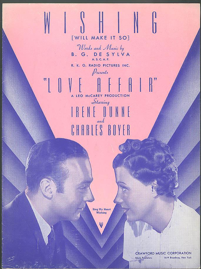Wishing sheet music from 1939 movie Love Affair Irene Dinne