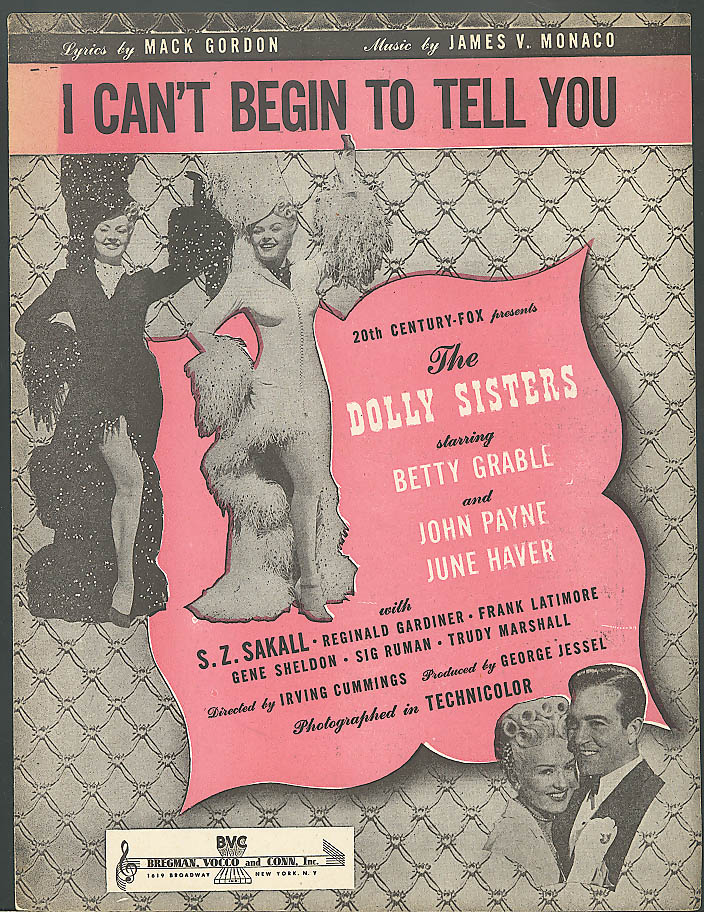 I Can't Begin to Tell You movie sheet music 1945
