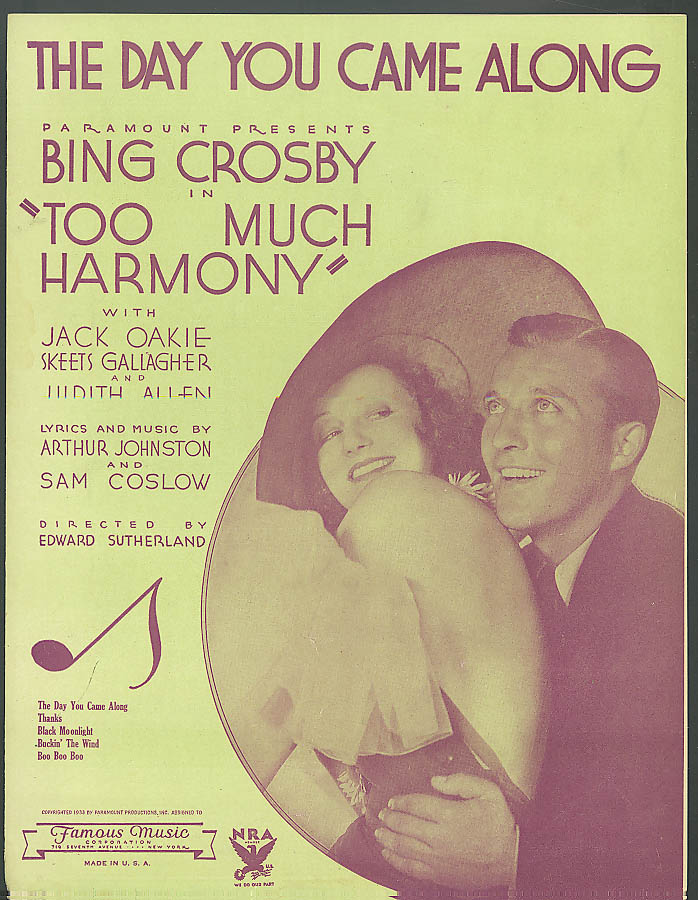 The Day You Came Along sheet music Bing Crosby 1933