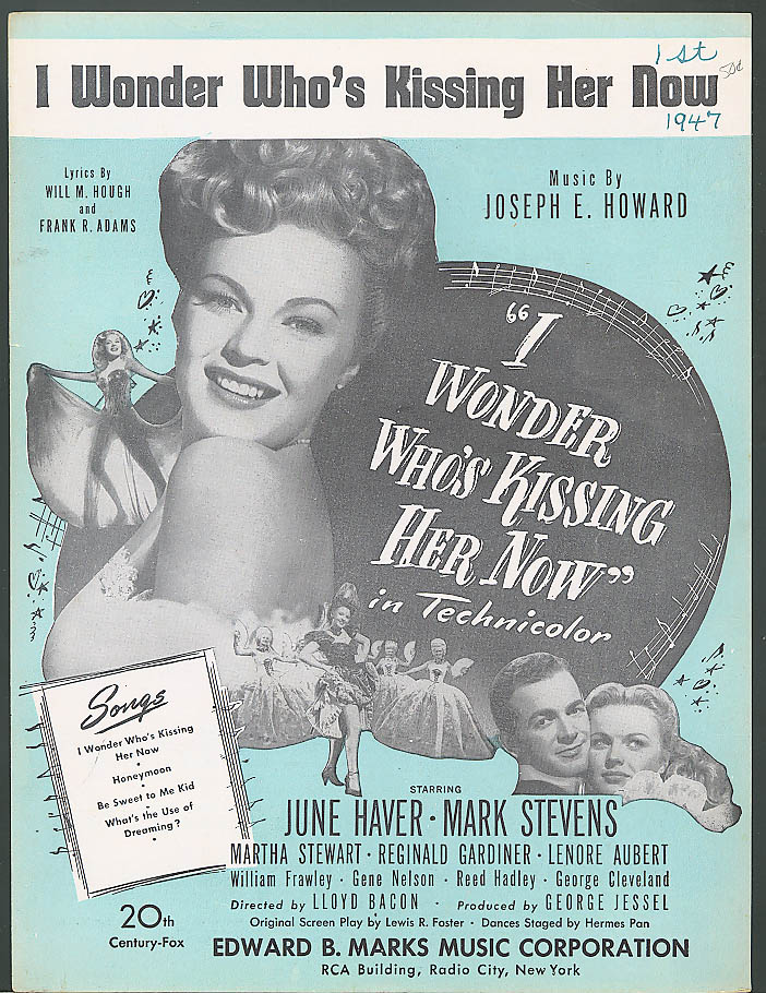 I Wonder Who's Kissing Her Now movie sheet music 1947